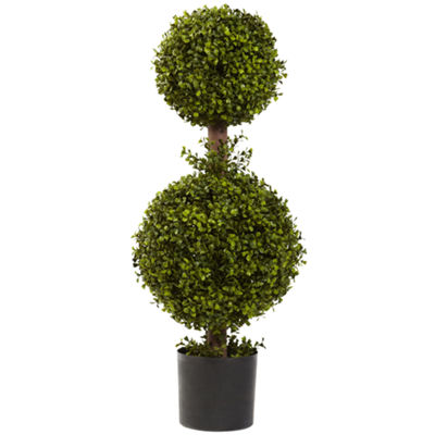 Nearly Natural 35 Double Boxwood Topiary
