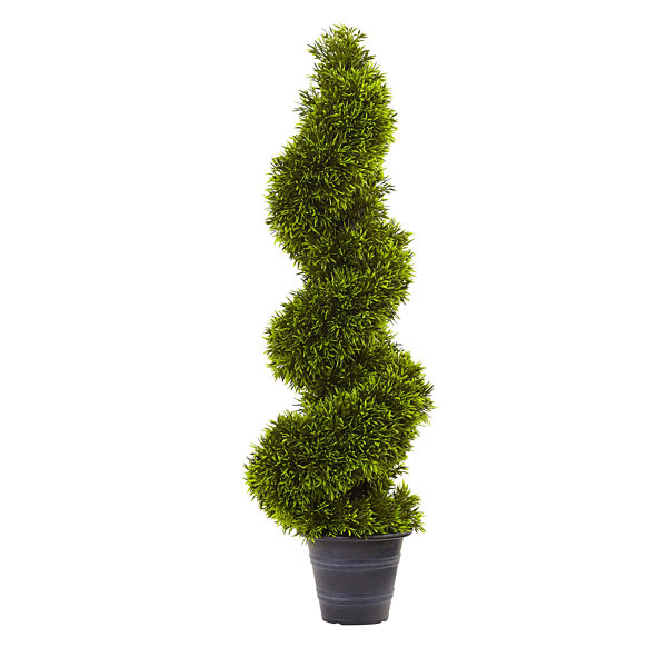 Nearly Natural 3-ft. Grass Spiral Topiary With Deco Planter