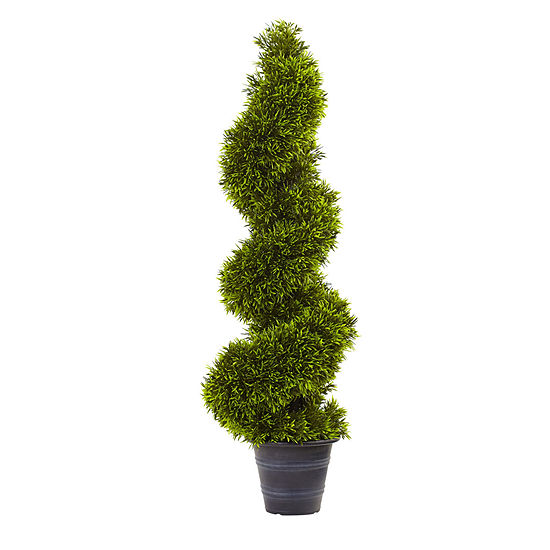 Nearly Natural 3 Ft Grass Spiral Topiary With Deco Planter