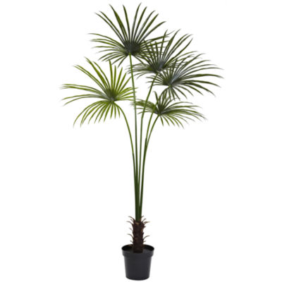 Nearly Natural 7-ft. Fan Palm Tree UV-Resistant Indoor/Outdoor