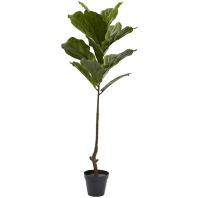 Nearly Natural 4-ft. Fiddle Leaf Tree UV-Resistant Indoor/Outdoor