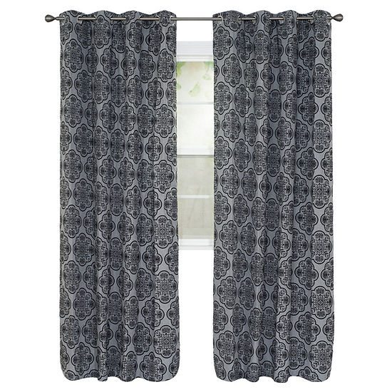Cambridge Home Dana Flocked Grommet-Top Curtain Panel