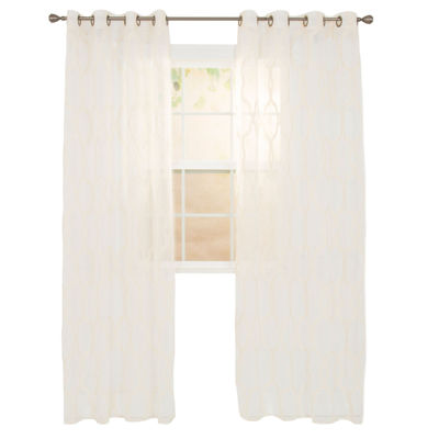 Cambridge Home Elisa Embroidered Grommet-Top Sheer Curtain Panel