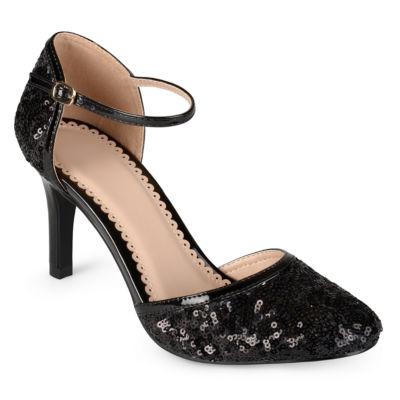Journee Collection Womens Alison Pumps Buckle Round Toe Spike Heel