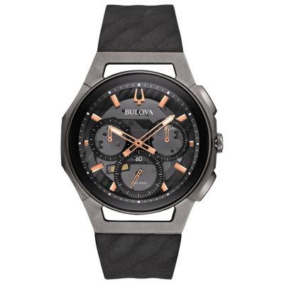 Bulova Curv Mens Black Strap Watch-98a162