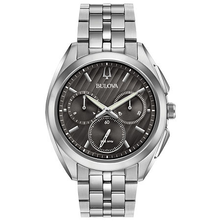 Bulova Curv Mens Silver Tone Stainless Steel Bracelet Watch - 96a186, One Size