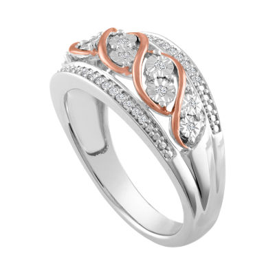 Womens 1/10 CT. T.W. Genuine White Diamond Sterling Silver & 14K Rose Gold over Silver Band