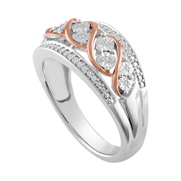 Fine Jewelry Womens 1/10 CT. T.W. Genuine White Diamond Sterling Silver & 14K Rose Gold over Silver Band rTOUYVVUi