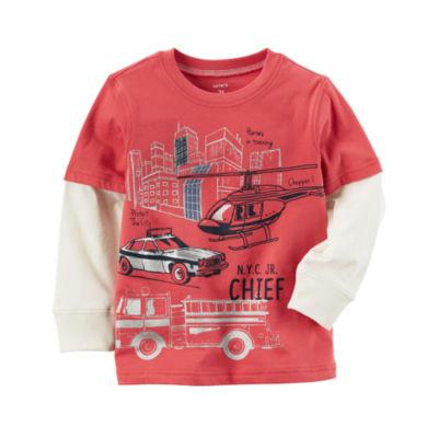 Carter's Long Sleeve Crew Neck T-Shirt-Preschool Boys