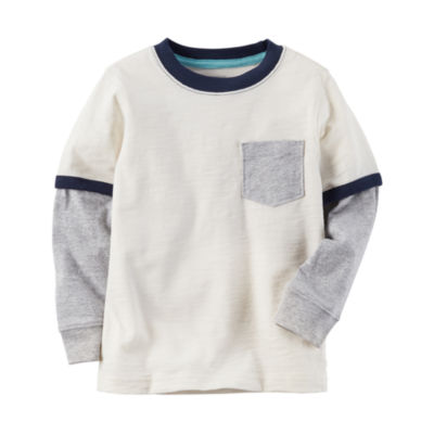Carter's Long Sleeve Crew Neck T-Shirt-Preschool Boys