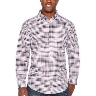 Van Heusen Long Sleeve Plaid Button-Front Shirt-Big and Tall