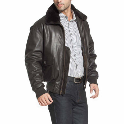 Navy G1 Leather Bomber Jacket Tall