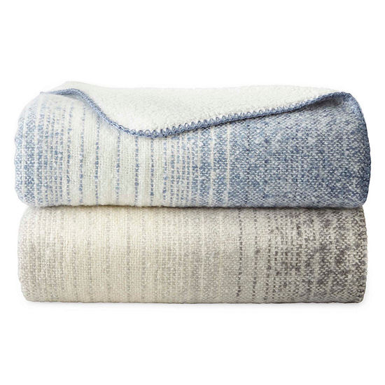 JCPenney Home Faux Mohair Sherpa Reversible Throw