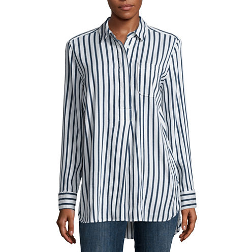 Liz Claiborne Long Sleeve Woven Stripe Blouse