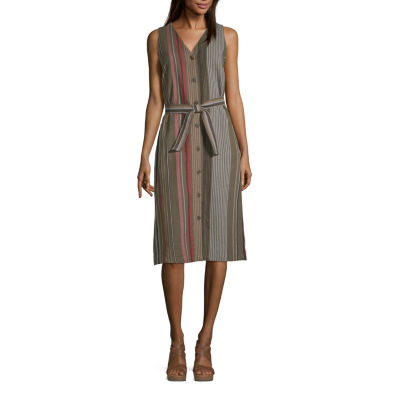 Liz Claiborne Sleeveless Striped A-Line Dress