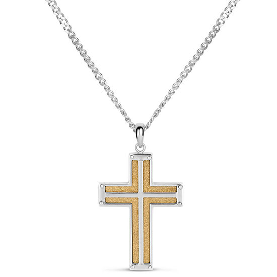 Mens Surgical Steel Cross Pendant Necklace