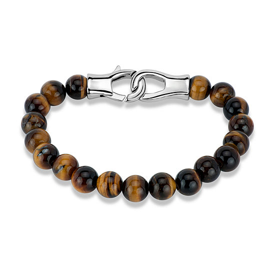 Genuine Brown Tiger's Eye Surgical Steel Beaded Bracelet