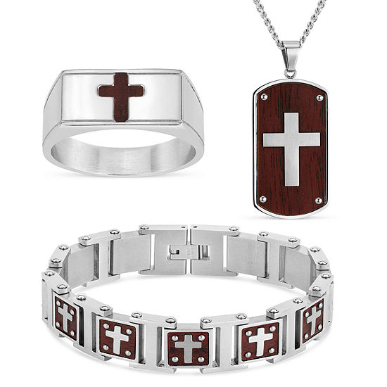 Simulated Surgical Steel Cross 3 Pc Jewelry Set