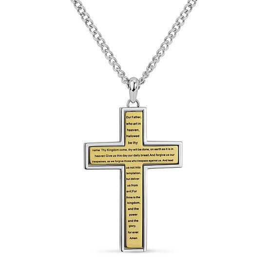 Mens Diamond Accent White Cubic Zirconia Surgical Steel Cross Pendant Necklace