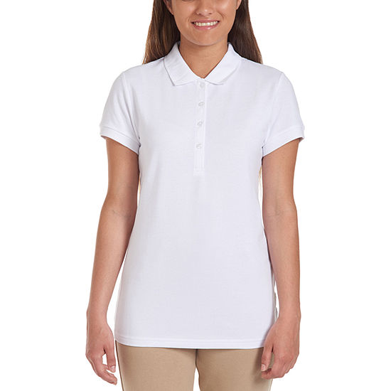 IZOD Womens Collar Neck Short Sleeve Knit Polo Shirt Juniors