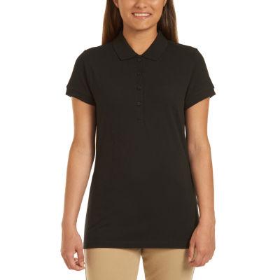 IZOD Womens Collar Neck Short Sleeve Knit Polo Shirt Juniors