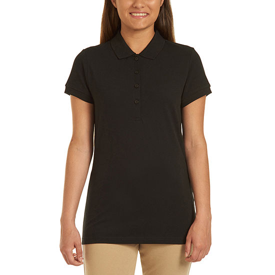 IZOD Womens Short Sleeve Stretch Pique Knit Polo Shirt Juniors