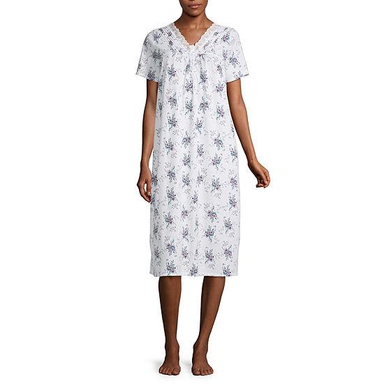 Adonna Womens Petite Nightgown Short Sleeve V Neck