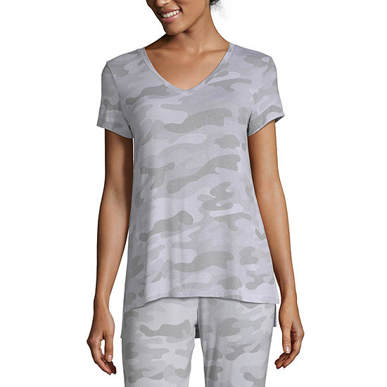Ambrielle Womens Knit Pajama Top V Neck
