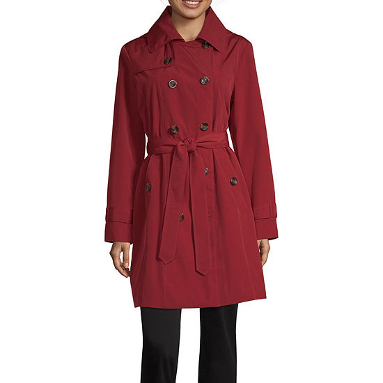 Liz Claiborne Hooded Belted Lightweight Raincoat