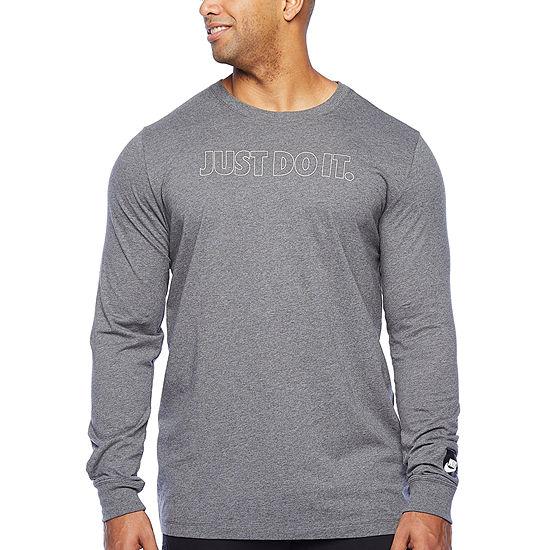 Nike-Big and Tall Mens Crew Neck Long Sleeve T-Shirt