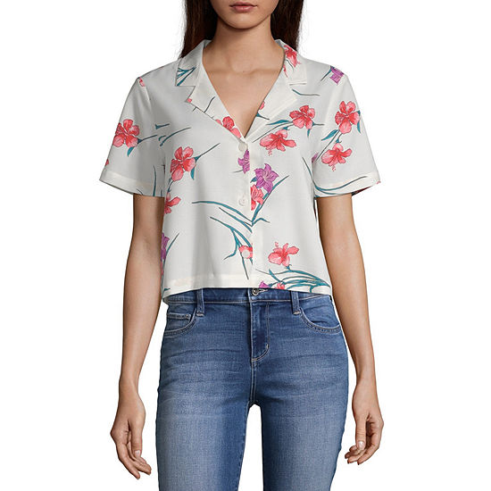 Sunset And Sixth Short Sleeve Relaxed Fit Button-Front Shirt-Juniors