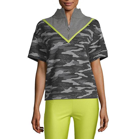 Flirtitude Juniors Mock Neck Short Sleeve Sweatshirt
