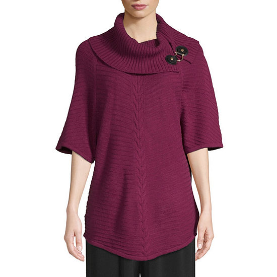 east 5th Womens Cowl Neck Short Sleeve Poncho