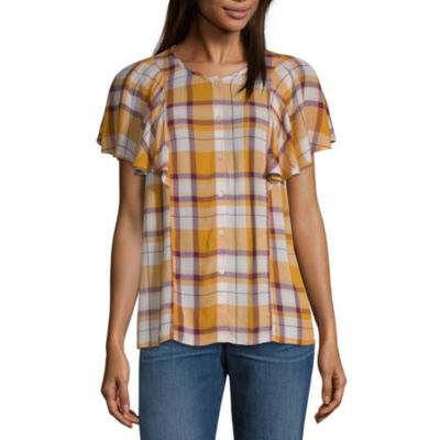 a.n.a Womens Short Sleeve Loose Fit Button-Front Shirt