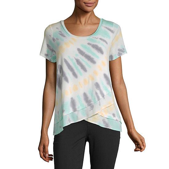Liz Claiborne-Womens Scoop Neck Short Sleeve T-Shirt