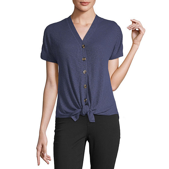Liz Claiborne Womens Short Sleeve Button-Front Shirt