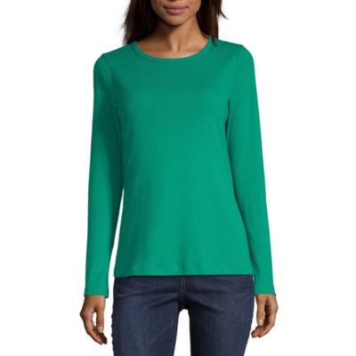 St. John's Bay-Womens Crew Neck Long Sleeve T-Shirt