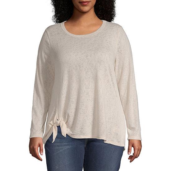 Wallpapher-Womens Round Neck Long Sleeve T-Shirt Plus