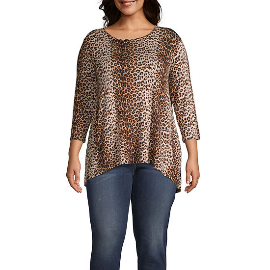 Wallpapher-Womens Round Neck 3/4 Sleeve T-Shirt Plus
