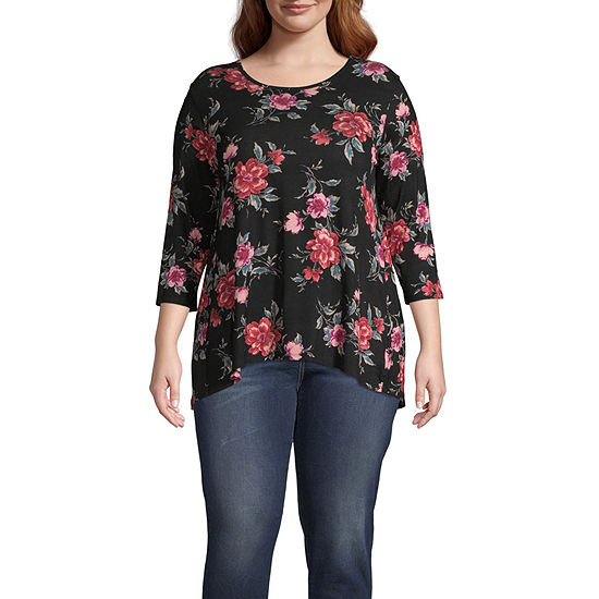 Wallpapher Plus-Womens Round Neck 3/4 Sleeve T-Shirt