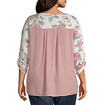Wallpapher-Womens Round Neck 3/4 Sleeve T-Shirt Plus