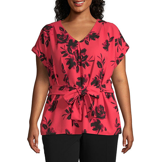 Worthington Womens V Neck Short Sleeve Blouse - Plus