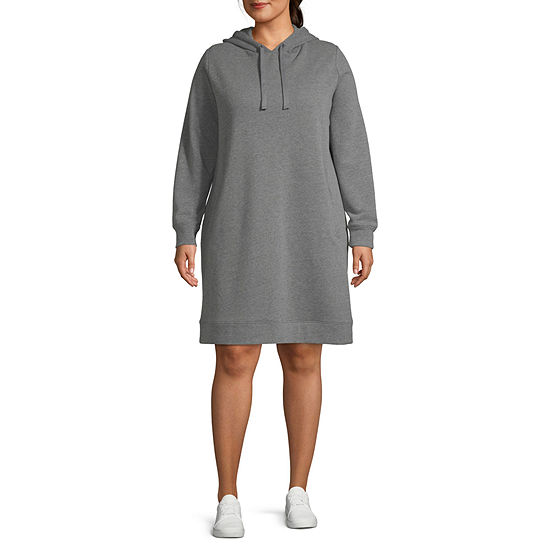 Xersion Plus Womens Hooded Neck Long Sleeve Sweatshirt