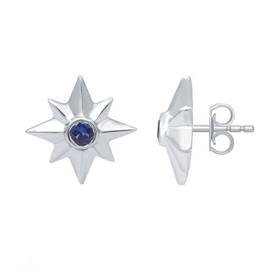 Marvel Universe Fine Jewelry By Marvel Genuine Blue Topaz Sterling Silver 14.6mm Marvel Stud Earrings