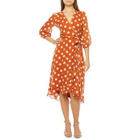 Vintage Polka Dot Dresses – 50s Spotty and Ditsy Prints Danny  Nicole 34 Sleeve Polka Dot Midi Fit  Flare Dress 4  Brown $43.99 AT vintagedancer.com