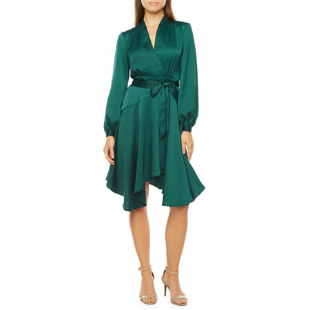 Plus Size Retro Dresses 50s, 60s ,70s, 80s, 90s Melonie T Long Sleeve Satin Fit  Flare Dress with Coordinating Face Mask 2  Green $43.99 AT vintagedancer.com