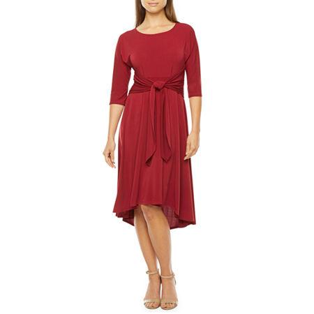 70s Prom, Formal, Evening, Party Dresses Robbie Bee Short Sleeve Midi Fit  Flare Dress Medium  Orange $55.50 AT vintagedancer.com
