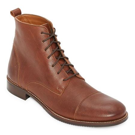 Titanic Edwardian Shoes – Make or Buy Stafford Mens Hacker Lace Up Boots Flat Heel 10 12 Medium Brown $55.99 AT vintagedancer.com
