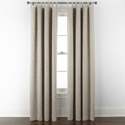 Linden Street Naturals Print 3-Ways To Hang 100% Blackout Rod Pocket Back Tab Top Single Curtain Panel