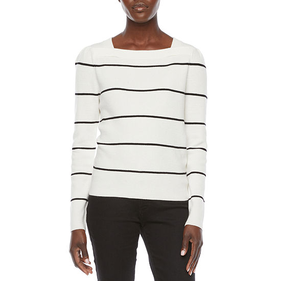 Liz Claiborne Womens Square Neck Long Sleeve Pullover Sweater